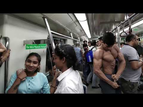 bodybuilder Shirtless in Delhi Metro