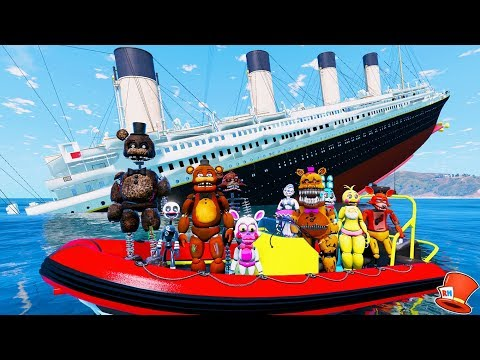 ANIMATRONICS ON THE SINKING TITANIC! (GTA 5 Mods For Kids FNAF RedHatter)