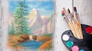 Уроки рисования! Как нарисовать горный пейзаж с рекой Пастелью! #Dari_Art(Спасибо за идею! Ольга Мазуркевич