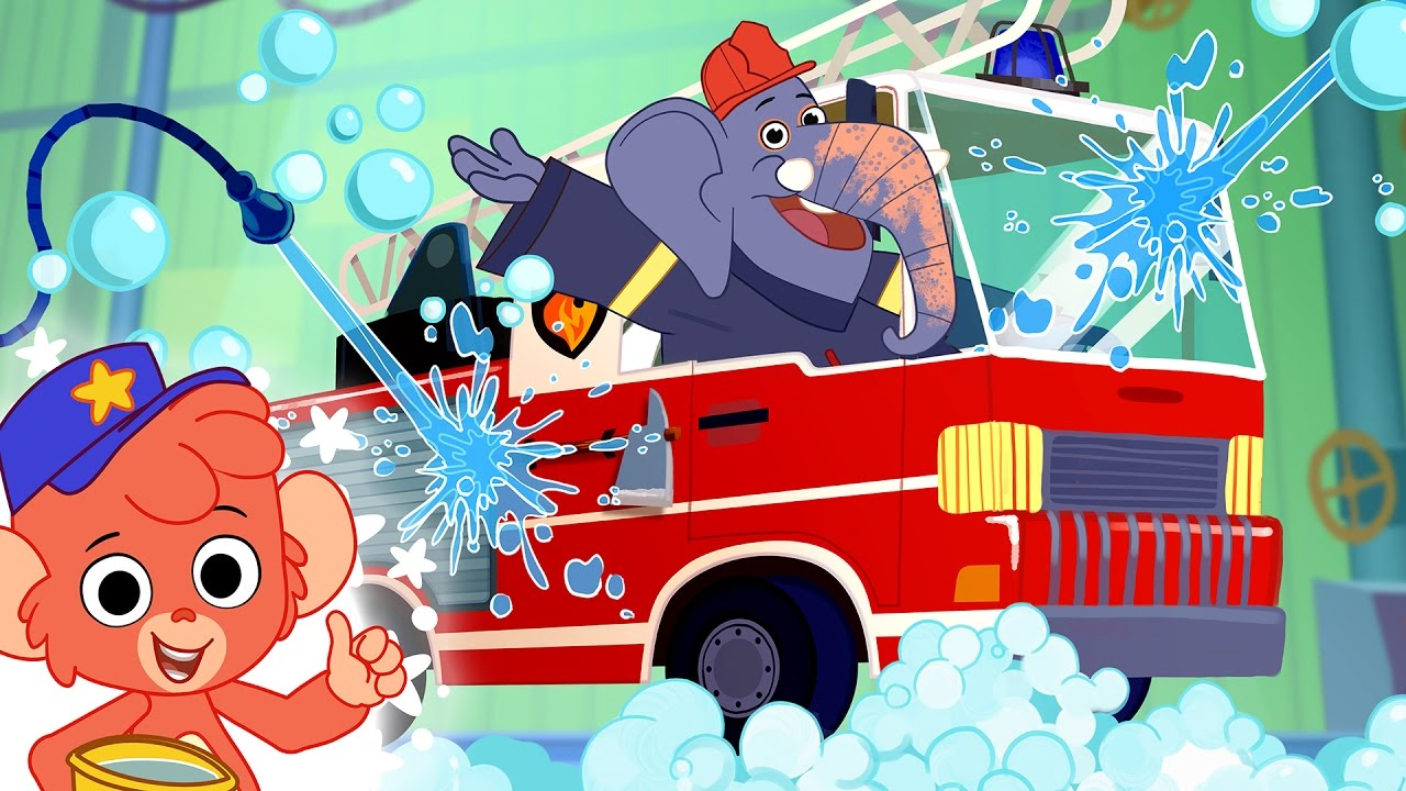fire truck car wash cartoon for kids car wash animation for children cars cartoons