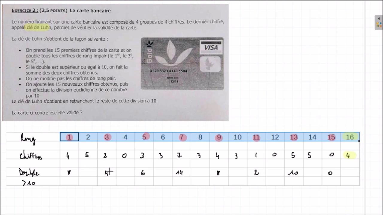 monplanmaths la carte bancaire cl de luhn programme maths 3 me youtube. Black Bedroom Furniture Sets. Home Design Ideas