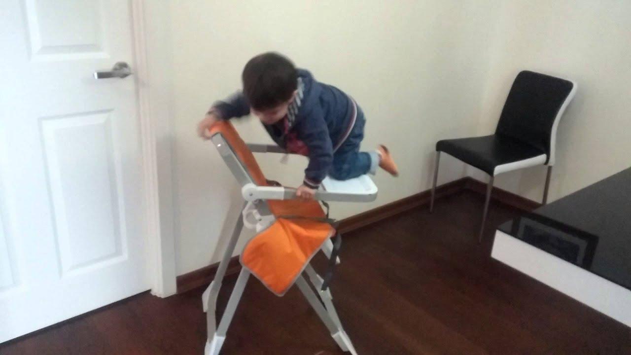 Baby Climbing Into High Chair Youtube
