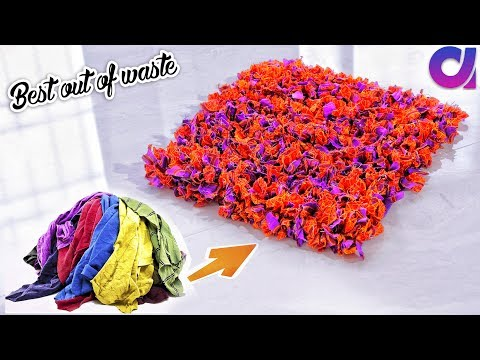 how to Reuse Your Old Clothes to make rugs, carpet, table mat | clothes recycling | Artkala 308