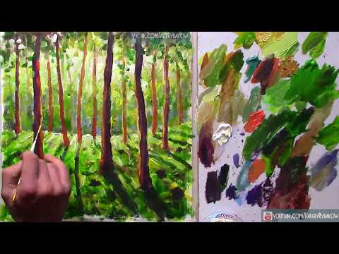 Easy Art Tutorial/Sunny forest landscape Painting/Time Lapse Demo/Daily Art Therapy /Day #0759