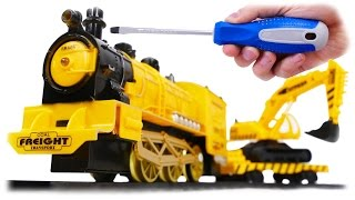 Super Power Construction Yellow Freight Train with Excavator