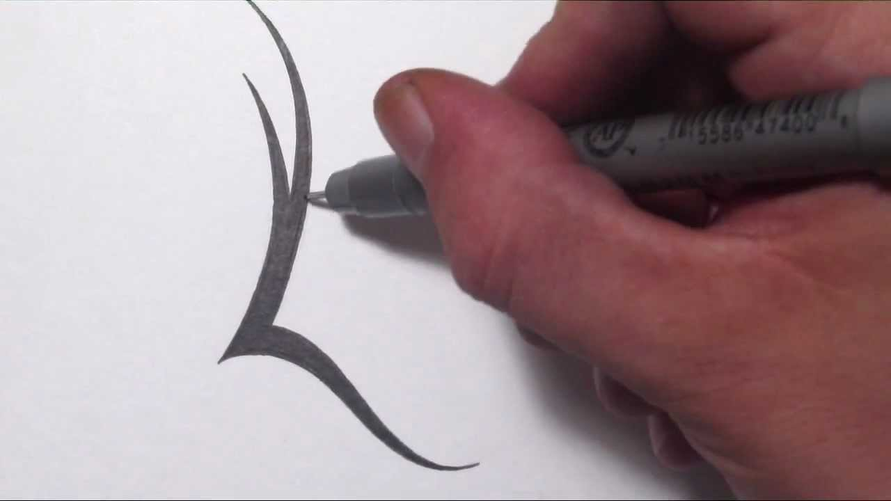 how to draw a simple tribal letter l youtube