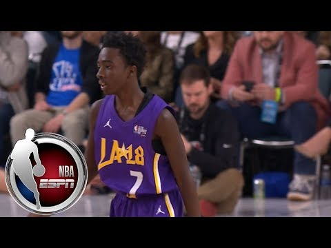 Stranger Things' Caleb McLaughlin gets bucket after wacky sequence in Celebrity Game | ESPN