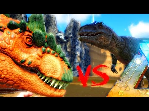 ARK Survival Evolved - 1000 ALLOSAURUS VS GIGANOTOSAURUS, ( Allo VS Giga Gameplay )