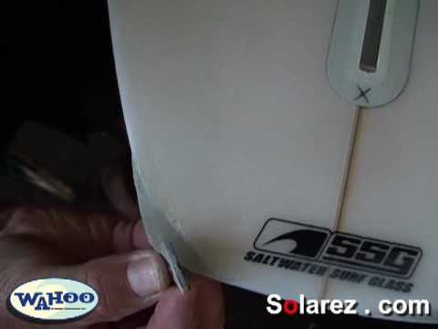 How to repair a surfboard using solarez UV cure resin.