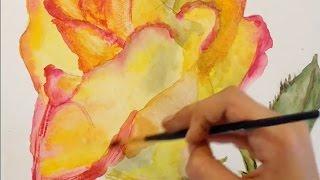 Акварель - Как нарисовать розу / Aquarelle - How to draw a rose(Акварель - довольно сложная в исполнении живописная техника, так как акварельная краска имеет свойство..., 2016-11-04T20:41:17.000Z)