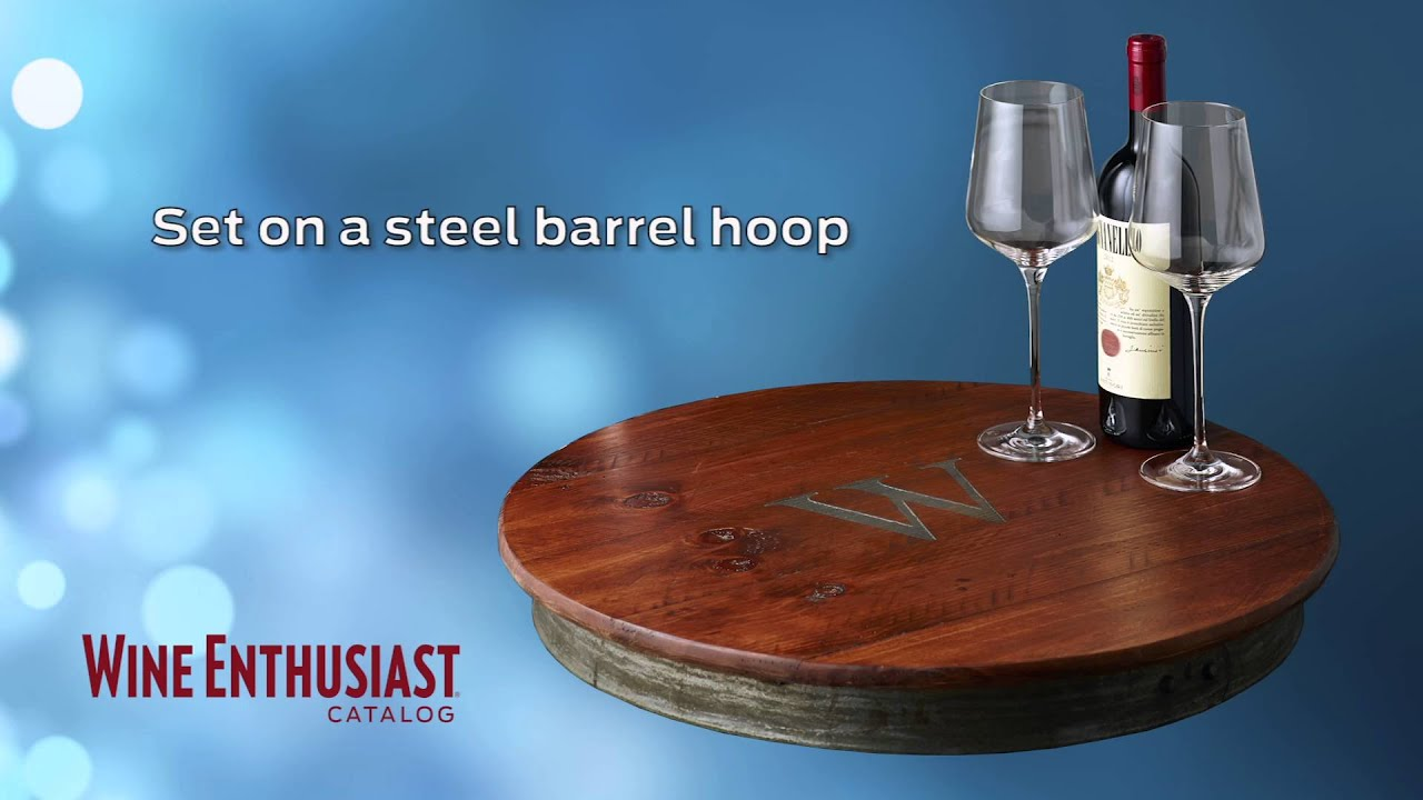 Personalized Raised Wine Barrel Lazy Susan With Single Initial Youtube