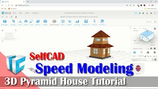 SelfCAD Simple 3D Pyramid House Modeling