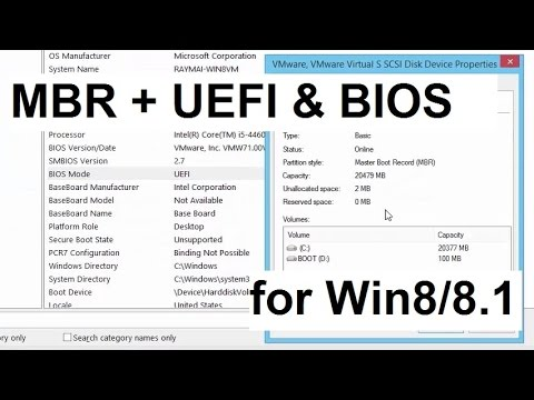 BIOS and UEFI boot on MBR disk (Win8/8 1)