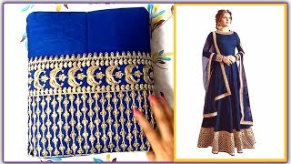 Unboxing and Review of Gown Heavy Banglori Silk Bottom Embroidery Blue Semi-stitched