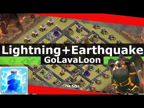 Lightning And EarthQuake vs Th9 Air Defense - GoLavaLoon Attack - Clash Of Clans