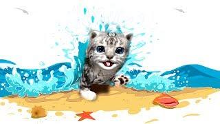 #Мультик игра про МАЛЕНЬКОГО котенка Котик в ОТПУСКЕ на МОРЕ Катаемся на горках видео для детей
