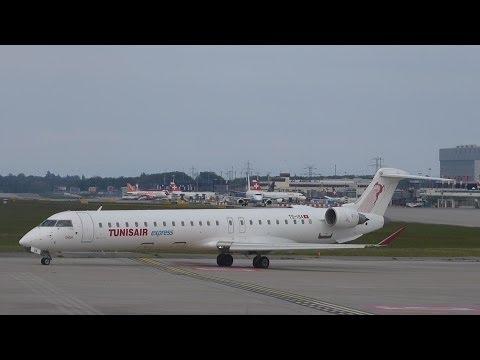[FullHD] RARE Tunisair Express CRJ-900 landng & takeoff at Geneva/GVA/LSGG