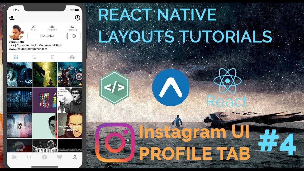4 Instagram Ui Profile Tab Tutorial Part 1 React Native Ui Layout