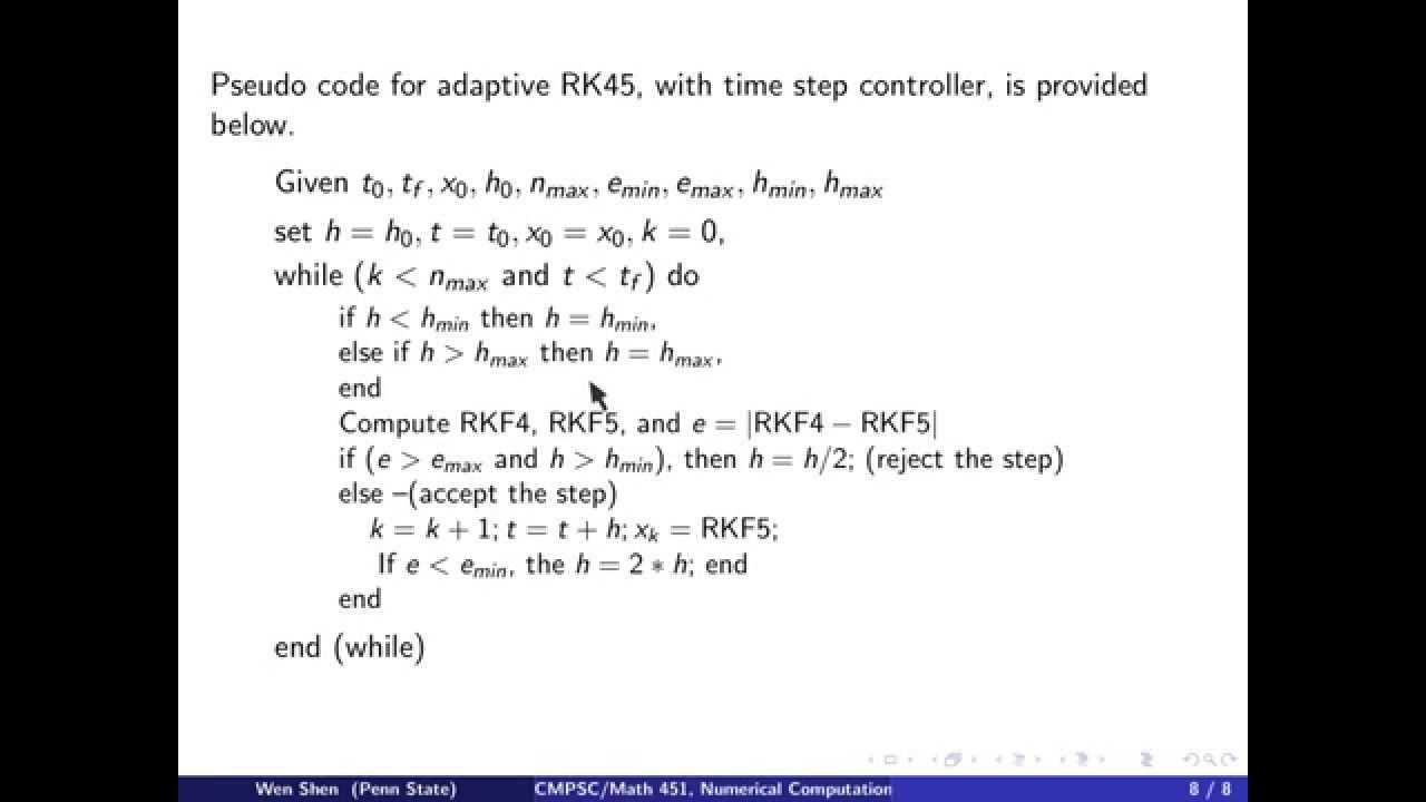 ch9 8  Adaptive Runge-Kutta-Fehlberg method  Wen Shen