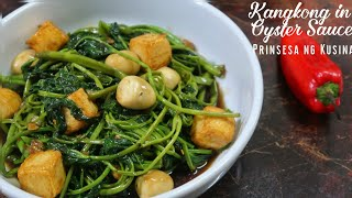 Kangkong in Oyster Sauce with Quail Eggs and Fish Tofu