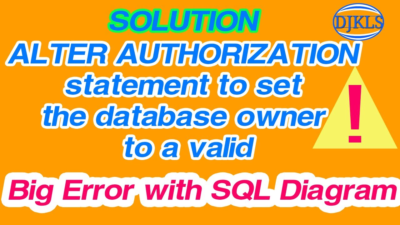 Alter authorization statement to set the database owner to a valid alter authorization statement to set the database owner to a valid ccuart Images