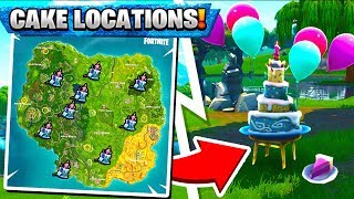 """""""Dance in front of Different Birthday Cakes"""" ALL LOCATIONS! Fortnite Birthday Cake Locations"""