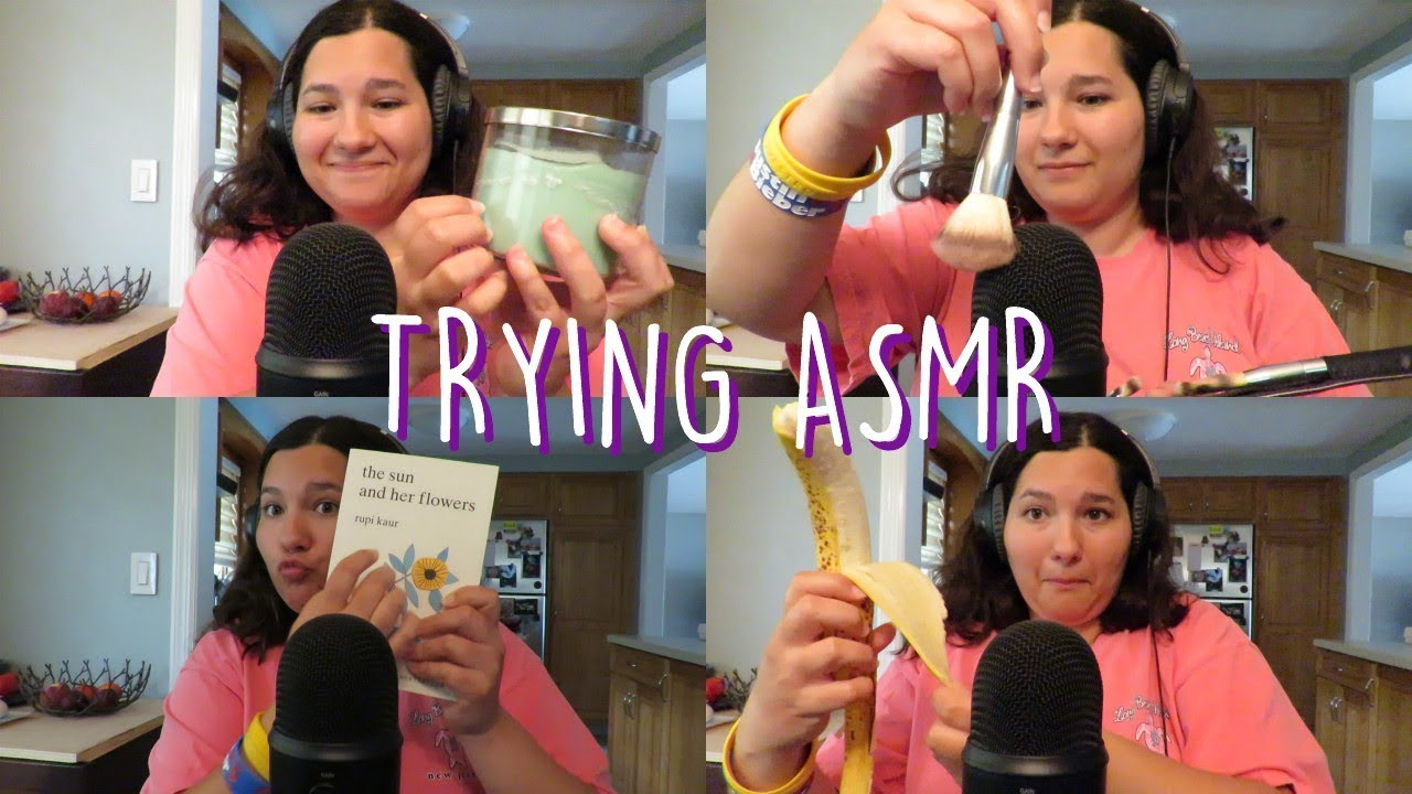 Trying ASMR For The First Time! (tapping, eating, drinking, reading + more!)