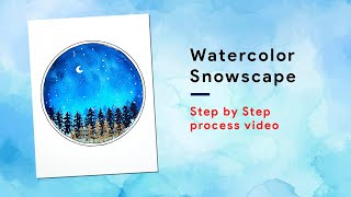 WATERCOLOR SNOWSCAPE || Step by Step process video