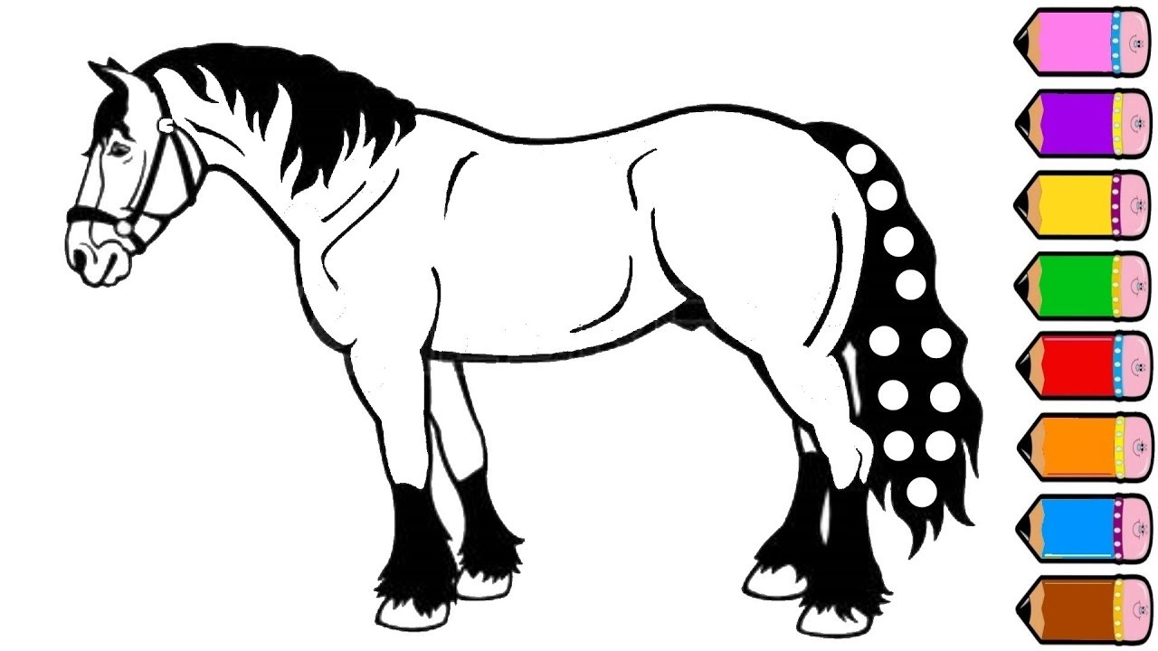 Horse coloring pages drawing for kids youtube videos for children