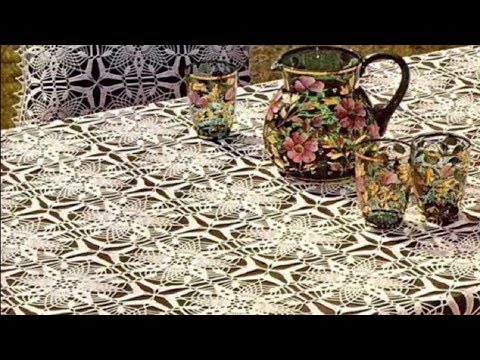 Вязание скатерти из мотивов крючком видео