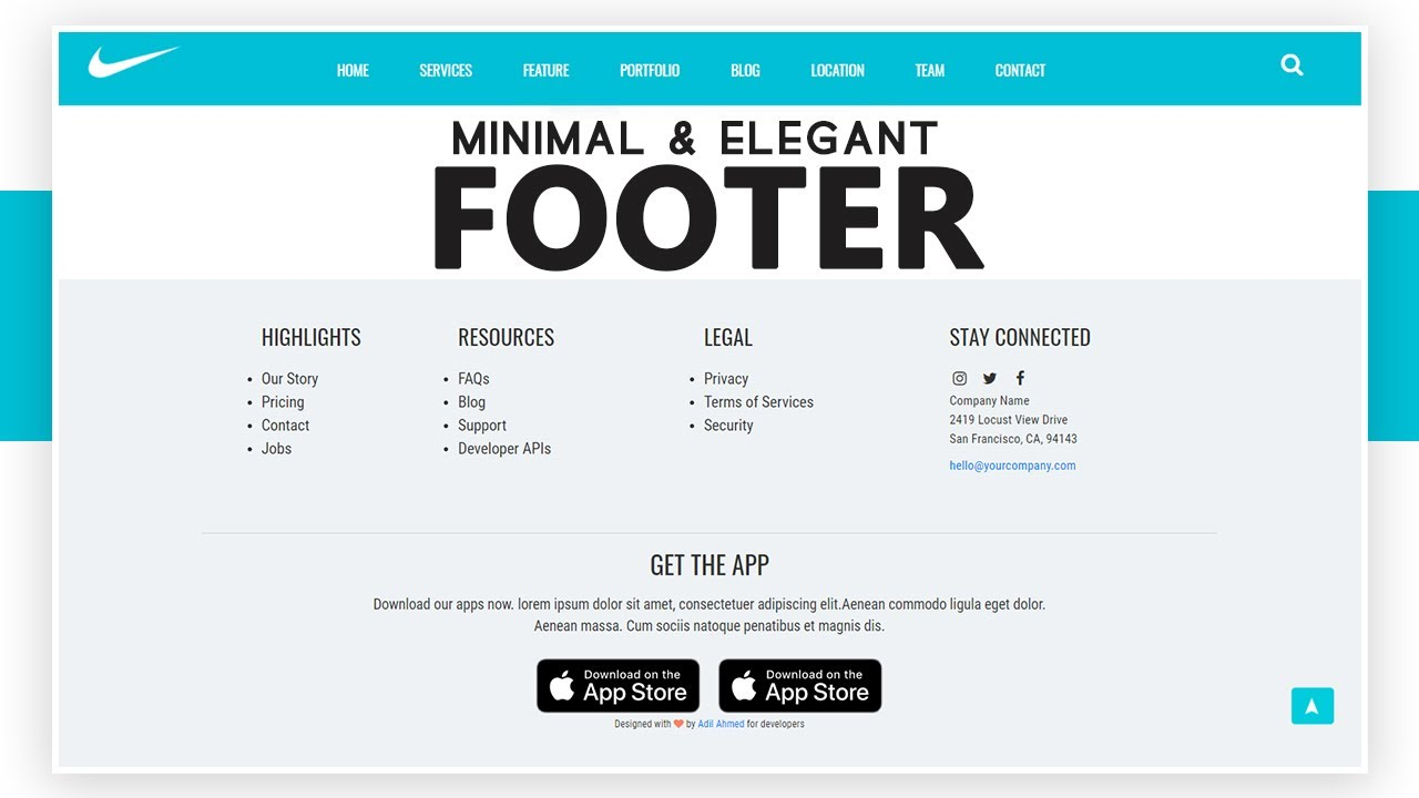 Minimal Elegant Footer For Creative Web Design Using Html Css Only