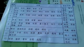 獻主會小學三年級中文詞語表1