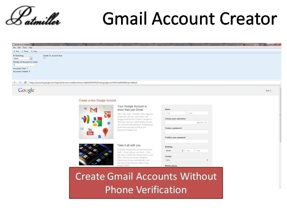 Create gmail account without verification - Knc website