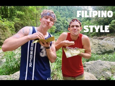 FINN SNOW EATING FILIPINO FOOD WITH HANDS (Dangerous Mindanao Waterfall Adventure)