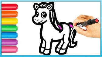Glitter Cute Pony Coloring and Drawing Painting for Kids | Coloring Videos