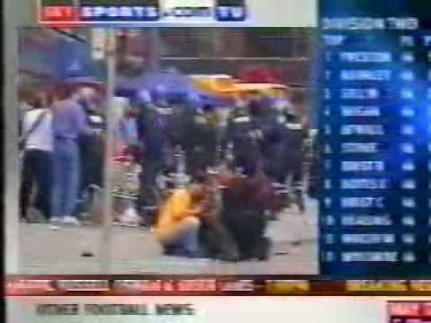 Sky News coverage of trouble before Arsenal vs Galatasray, Copenhagen 2000