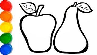Download Como Dibujar Y Colorear Una Manzana Y Una Pera Dibujos Para