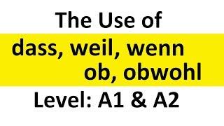The Use of dass, weil, wenn, ob, obwohl | Desi Learn German | Hindi/Urdu | Level A1/A2