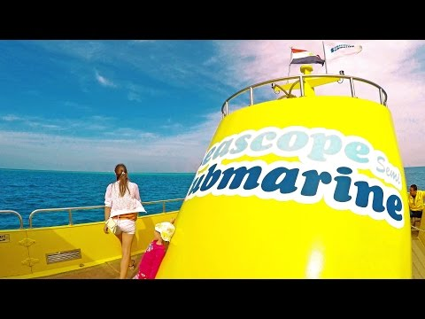 Egypt Submarine Seascope, Red sea coral reef 4K, big motor boat trip & Hurghada port.