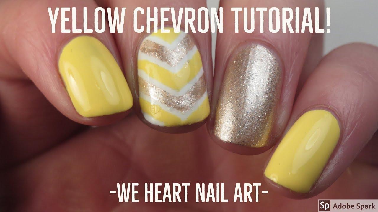 Yellow Chevron Nail Art Tutorial We Heart Nail Art Youtube