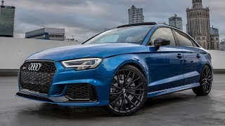 Most popular RS-Model - 2018 AUDI RS3 SEDAN (400hp,5cyl) on a rooftop in Warsaw (arablue, details)