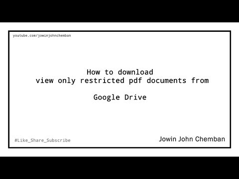 How To Download View Only, Protected Pdf From Google Drive
