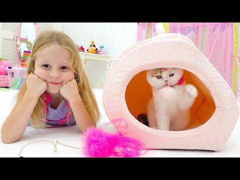 Настя и папа купили котёнка - Видео онлайн