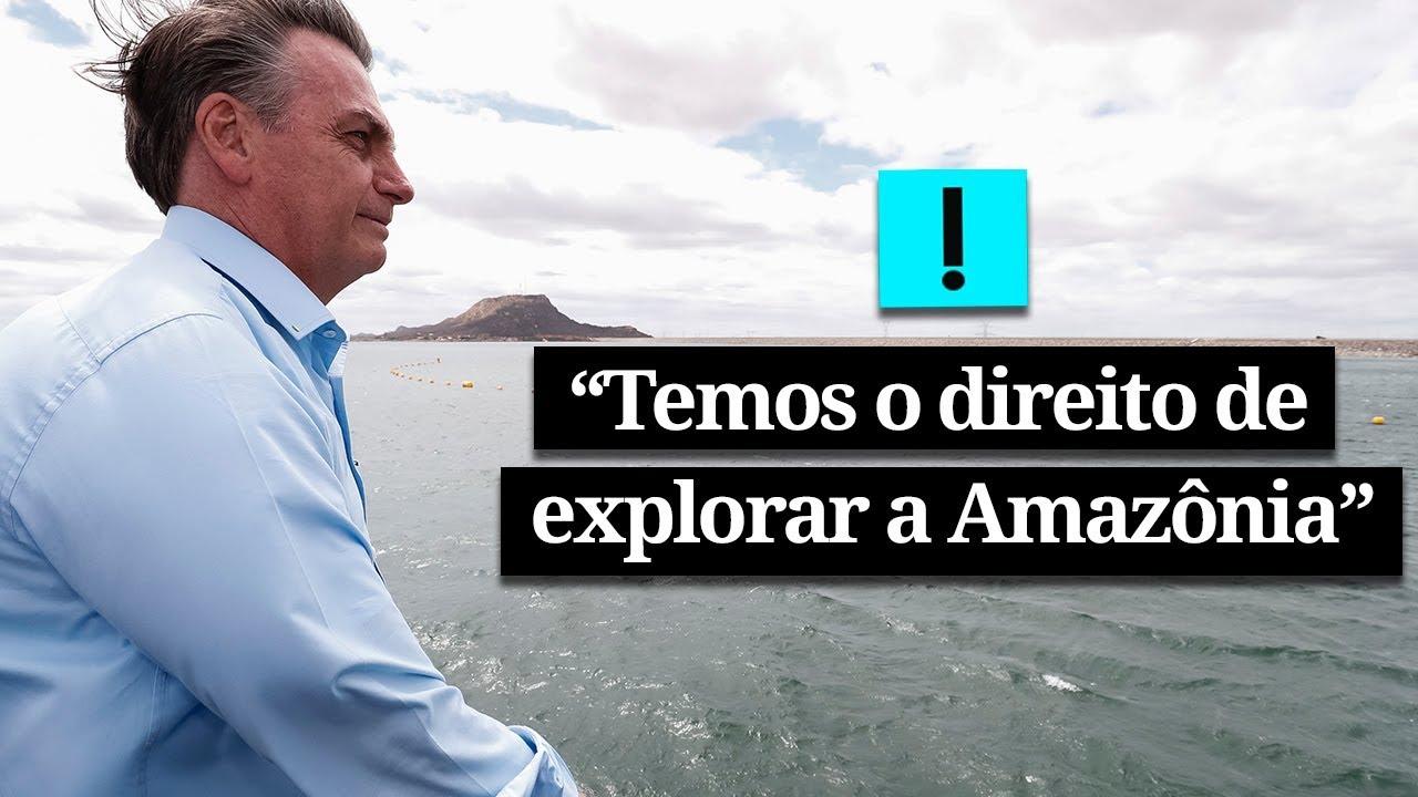 """""""Temos o direito de explorá-la"""", diz Bolsonaro em discurso sobre a Amazônia"""