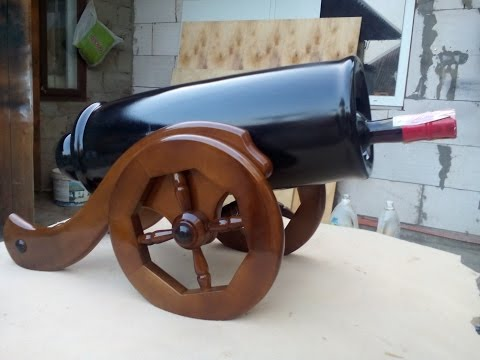 cannon made of wood, stand for champagne