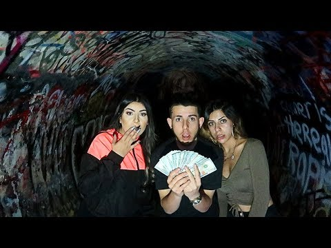 FINDING $5,000 IN THE HAUNTED TUNNEL... **scary treasure hunt**