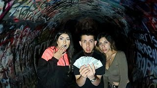 finding 5000 in the haunted tunnel scary treasure hunt faze rug