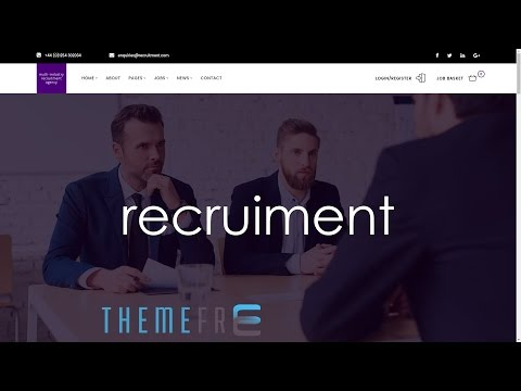 RECRUITMENT Multi-Industry Responsive Wordpress Theme for Recruiment, Head Hunter, HR, Labour Seeker