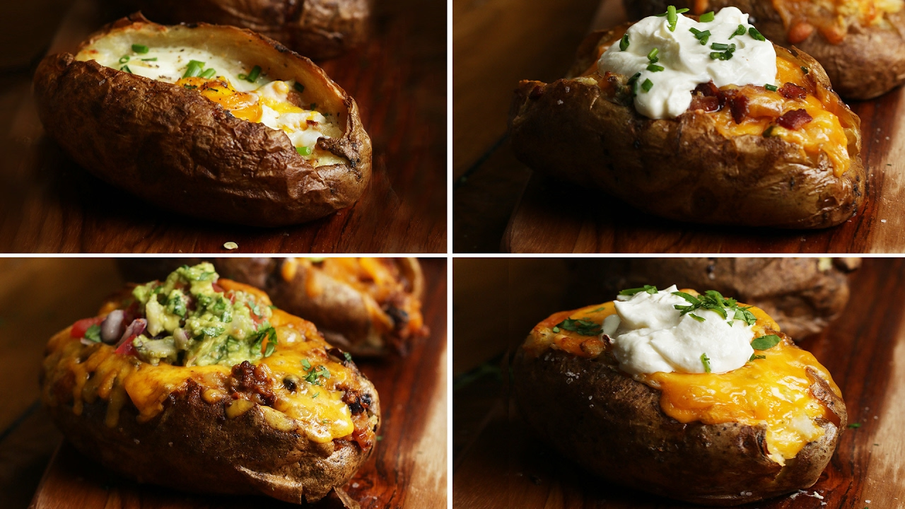 Loaded Baked Potatoes 4 Ways Youtube