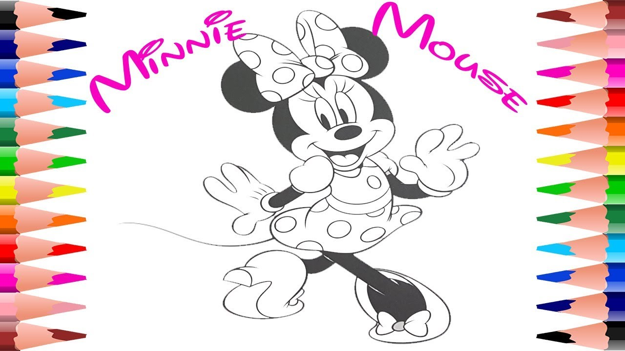 Painting Minnie Mouse Coloring Pages Disney Minnie Mouse Coloring ...